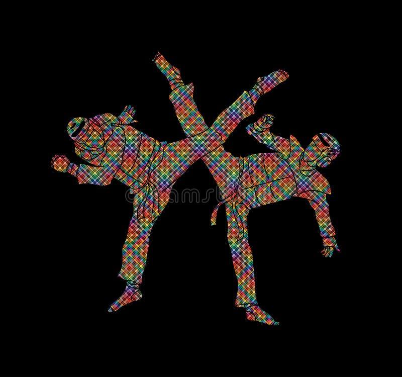Taekwondo fighting battle royalty free illustration