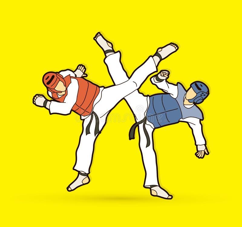 Taekwondo fighting battle stock illustration
