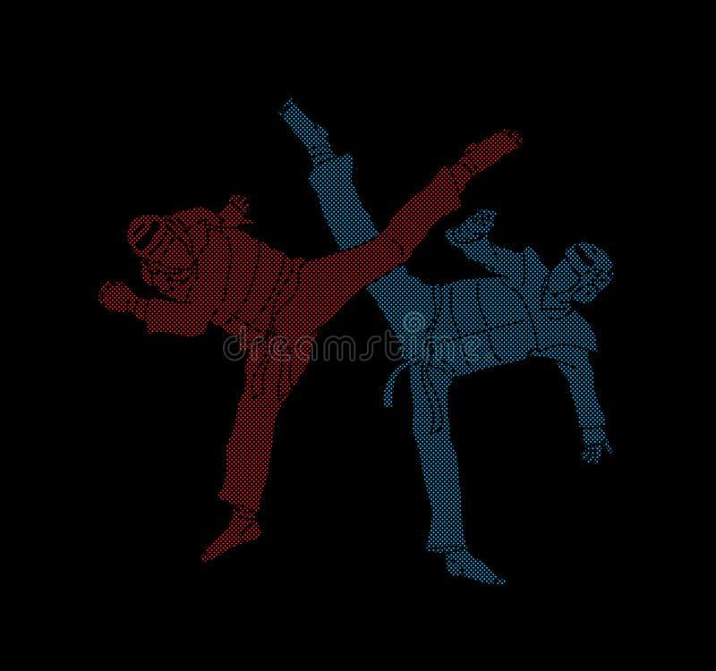 Taekwondo fighting competition vector illustration
