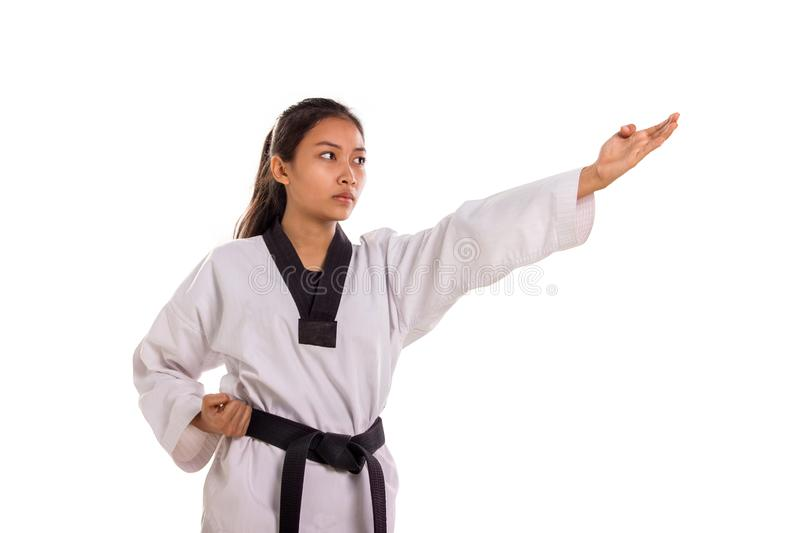 Taekwondo four fingers strike on white background stock photo