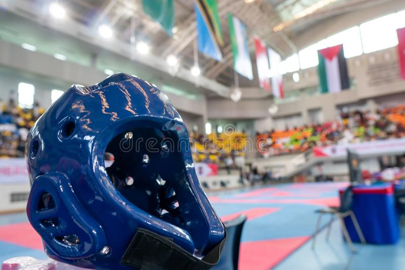 TaeKwonDo Hear Guard on International Competition. TaeKwonDo Hear Guard put on International Competition as background sport event in huge Gymnasium high roof stock photography