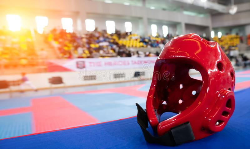 TaeKwonDo Hear Guard on International Competition. TaeKwonDo Hear Guard put on International Competition as background sport event in huge Gymnasium high roof royalty free stock images