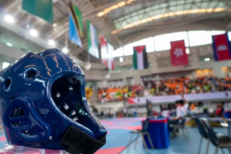 TaeKwonDo Hear Guard on International Competition. TaeKwonDo Hear Guard put on International Competition as background sport event in huge Gymnasium high roof royalty free stock photo