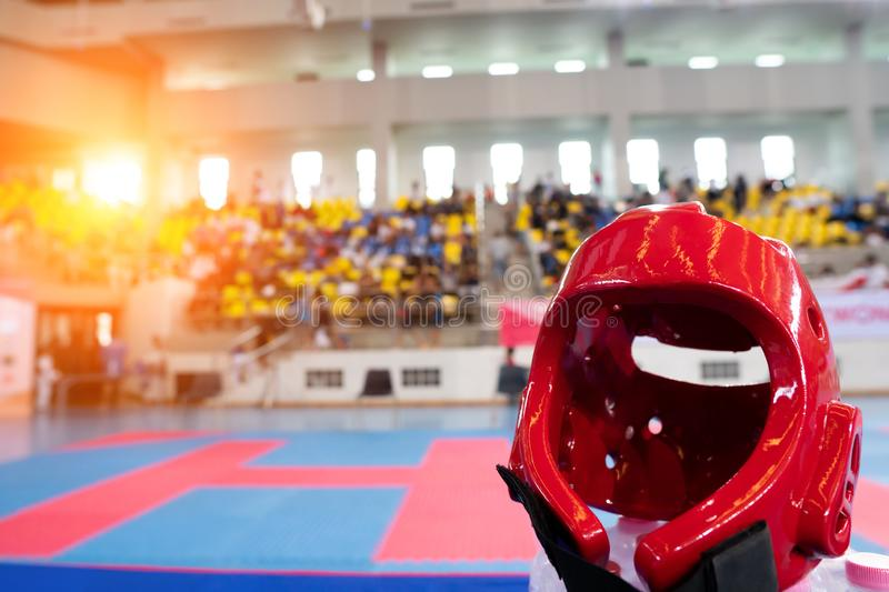 TaeKwonDo Hear Guard on International Competition. TaeKwonDo Hear Guard put on International Competition as background sport event in huge Gymnasium high roof royalty free stock photos