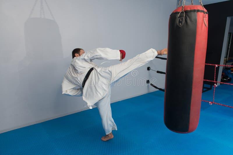 Taekwondo kämpeexpert med kampslagställning arkivbilder
