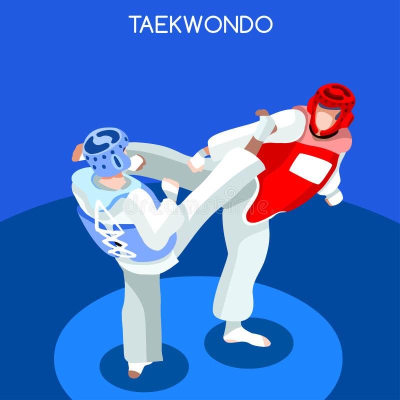 Taekwondo lata gier ikony set 3D Isometric atleta Sportowego mistrzostwa sztuki samoobrony Międzynarodowa rywalizacja ilustracji