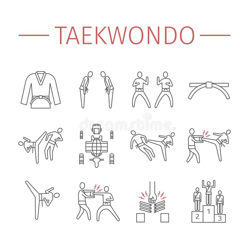 Taekwondo line icons set. Vector sports signs. stock image