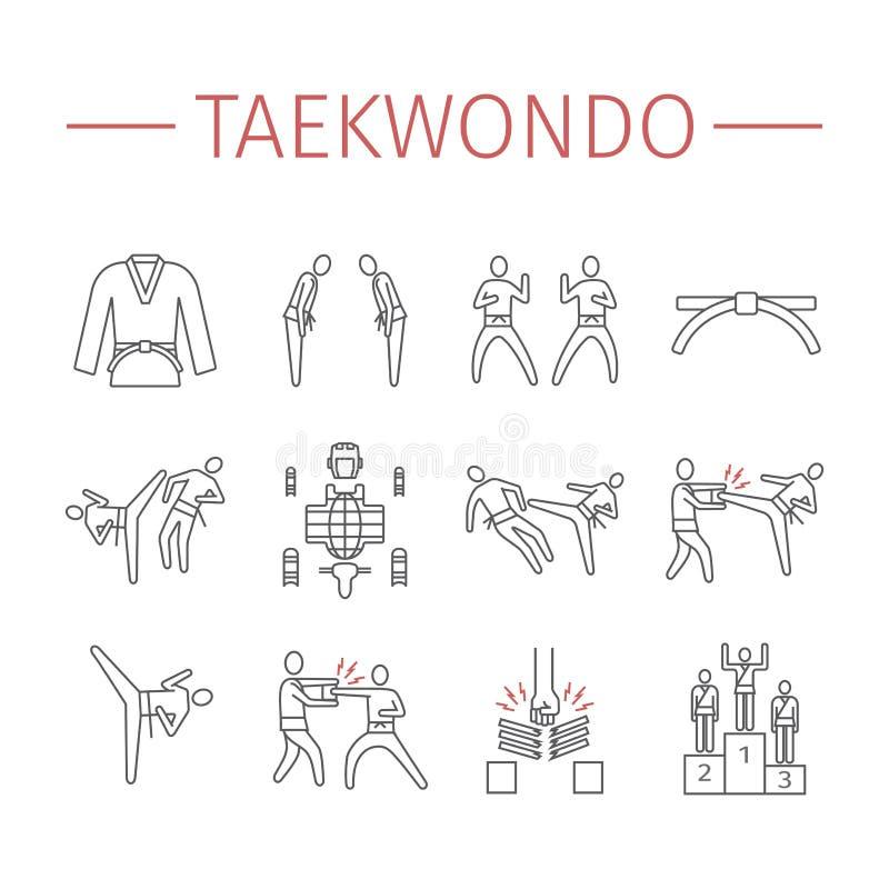 Taekwondo-Linie Ikonen eingestellt Vektor trägt Zeichen zur Schau stockbild