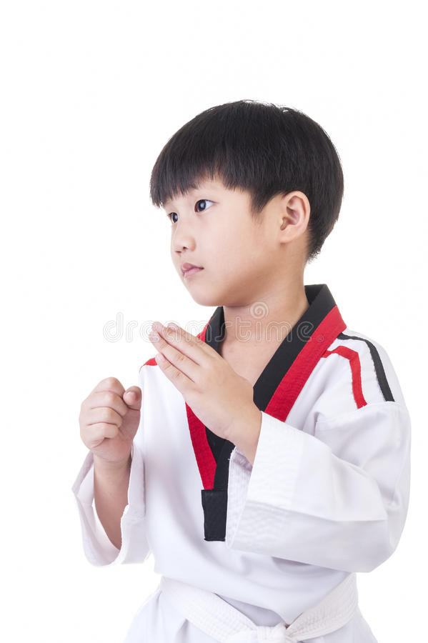 Taekwondo. Little boy in taekwondo suit on a white background stock images