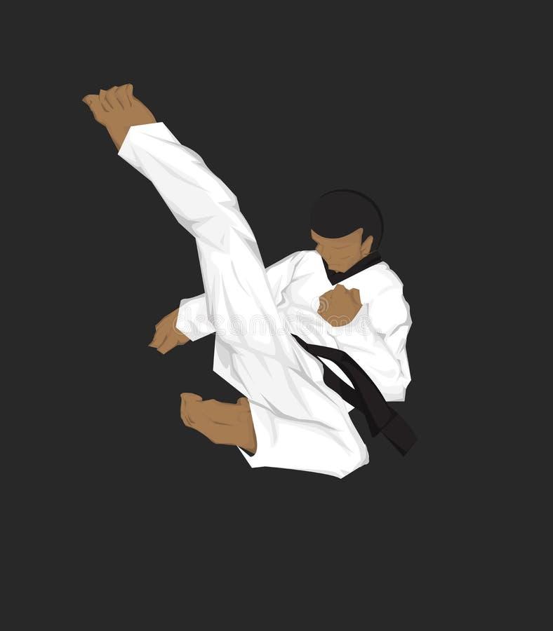 Taekwondo -Mädchen silueta im Vektor lizenzfreie abbildung