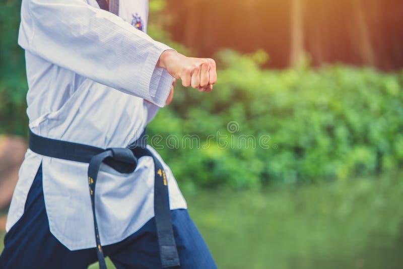 Taekwondo mężczyzny ręki pięści uderzać pięścią fotografia royalty free