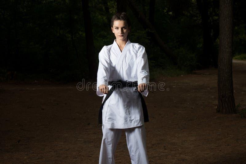 Taekwondo Myśliwska poza przy parkiem obrazy stock