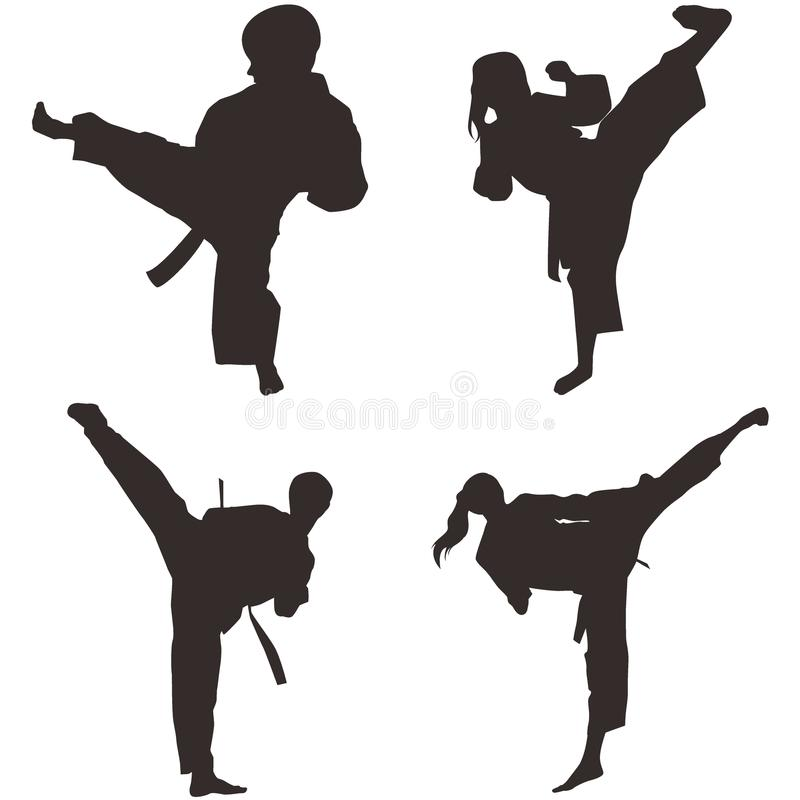 Taekwondo Shillouette stock illustration