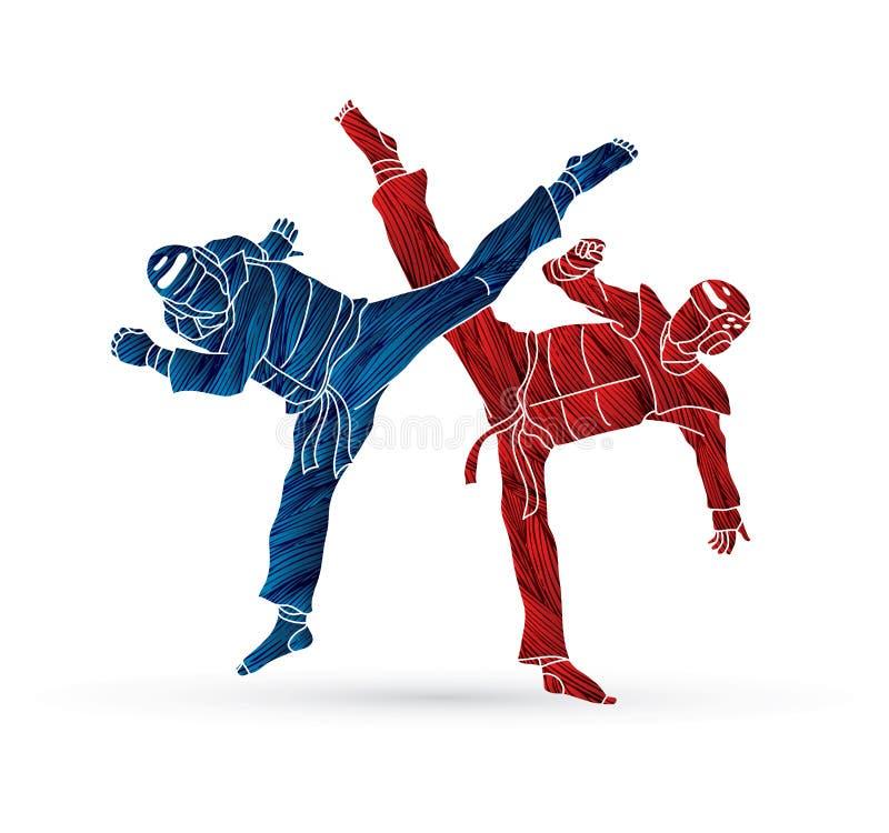Taekwondo som slåss konkurrens stock illustrationer