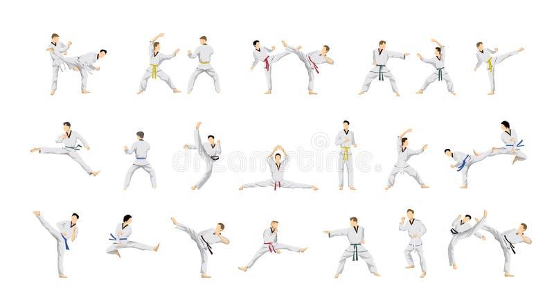 Taekwondo sport set. vector illustration