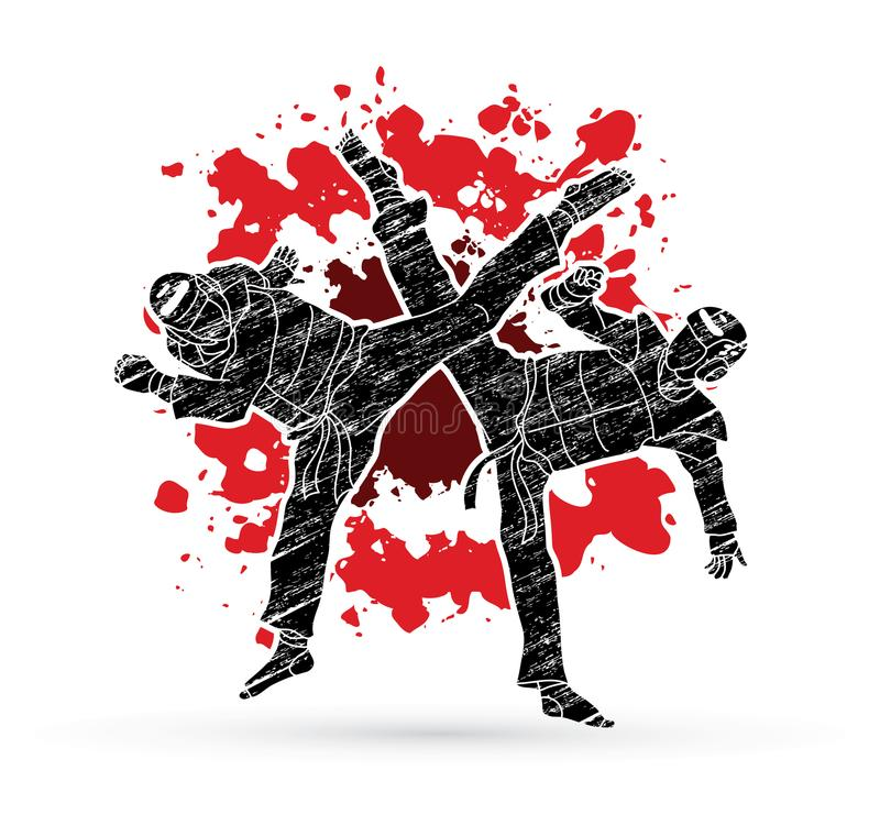 Taekwondo stridighetstrid stock illustrationer