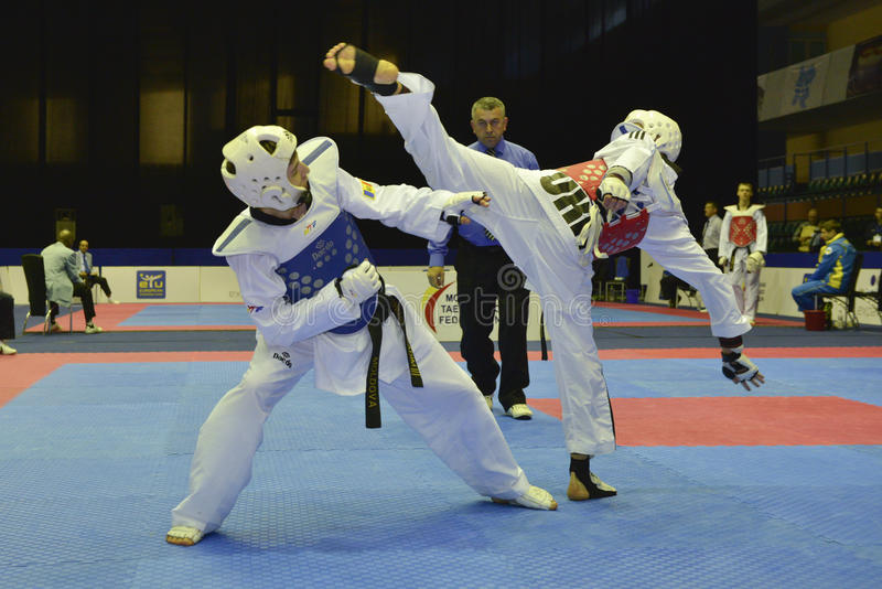 Taekwondo wtf toernooien royalty-vrije stock afbeelding
