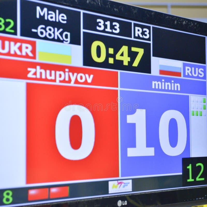Taekwondo wtf toernooien stock fotografie