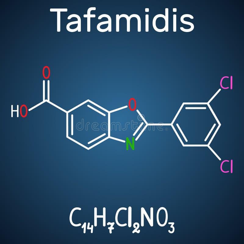 Tafamidis商标Vyndaqel分子 结构化学制品fo 向量例证