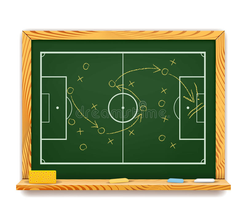 Tafel, die einen schematischen Plan für Fußball zeigt vektor abbildung
