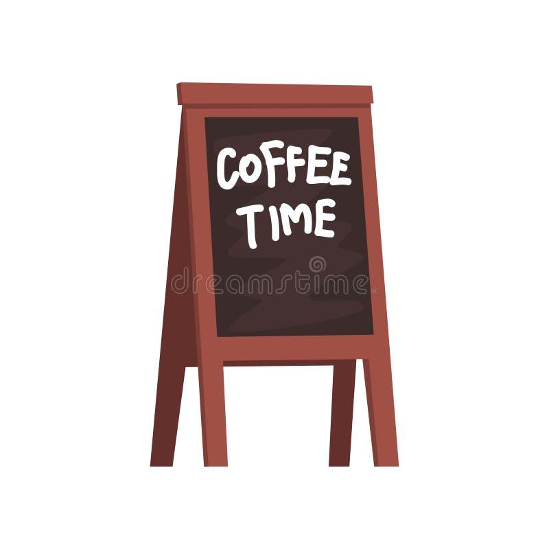 Tafel mit Aufschrift Kaffeezeit, hölzernes bewegliches Brett für Menükarikatur-Vektor Illustration auf einem weißen Hintergrund stock abbildung