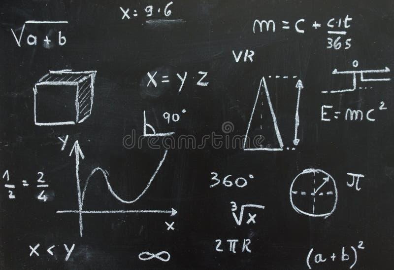 Tafel mit den mathematischen und geometrischen Formeln geschrieben mit Kreide auf ein schwarzes backgroundblackboard mit mathemat stockbild