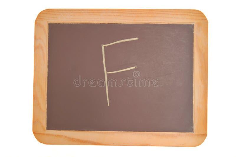 Tafel mit einem F geschrieben auf es stockbilder