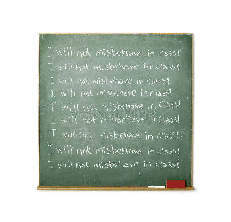 Tafel mit einer Disziplinmeldung geschrieben auf sie stockfotografie