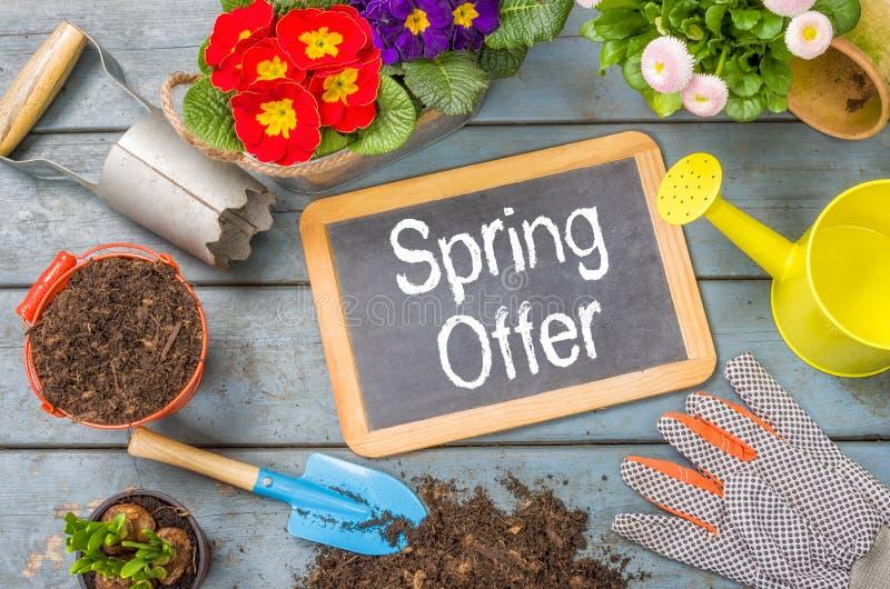 Tafel mit Gartenwerkzeugen - Frühlingsangebot lizenzfreies stockbild