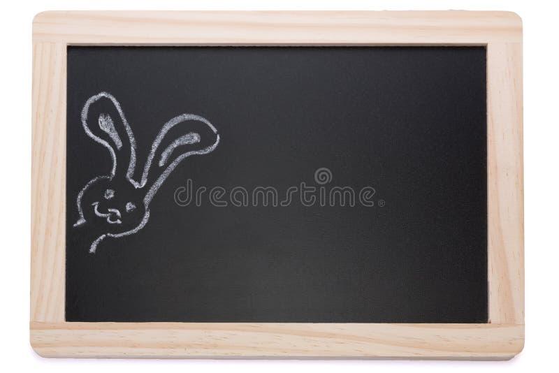 Tafel mit Kreidekaninchen lizenzfreie stockfotografie
