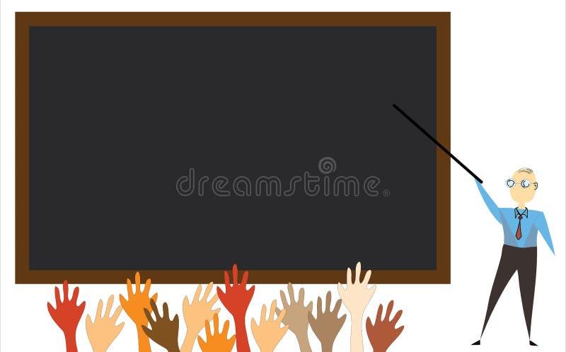 Tafel mit Lehrerillustration lizenzfreies stockfoto