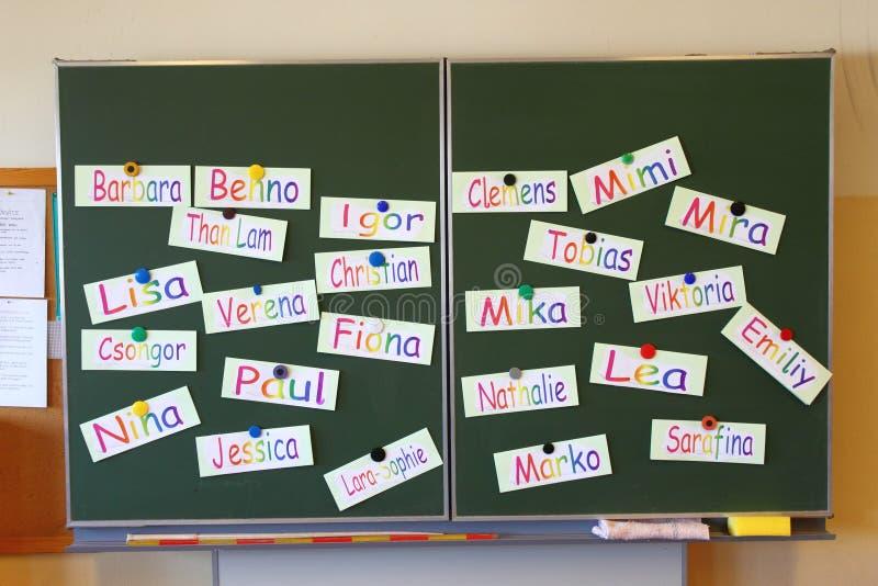Tafel mit Namen stockbilder