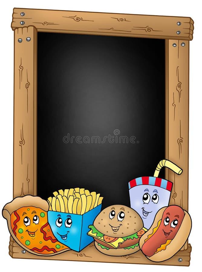 Tafel mit verschiedenen Karikaturmahlzeiten stock abbildung