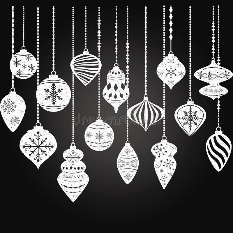 Tafel-Weihnachtsverzierungen, Weihnachtsball-Dekorationen, Weihnachtshängender Dekorationssatz stock abbildung
