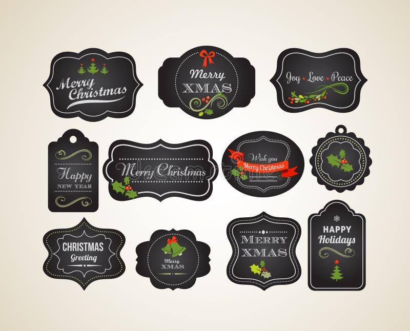 Tafel-Weihnachtsweinleseeinladung und -aufkleber stock abbildung