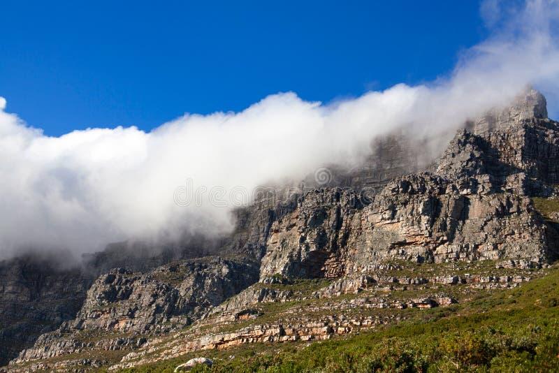Tafelberg unter einer enormen weißen Wolke, tiefer Hintergrund des blauen Himmels, Cape Town, Südafrika stockfotografie