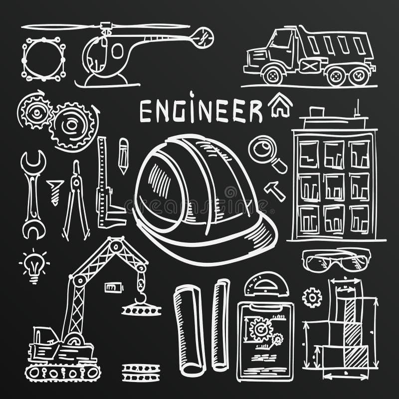 Tafelskizze Ikonen-Ingenieurzeichnungs-Artsatz Auch im corel abgehobenen Betrag lizenzfreie abbildung