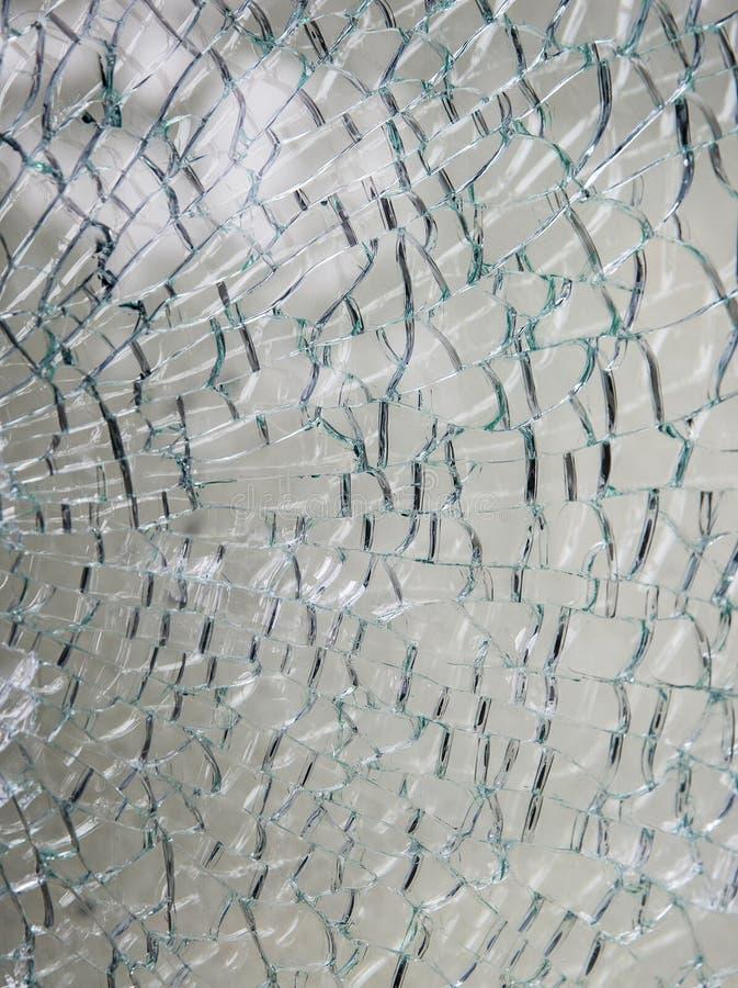Tafla bezpieczeństwo hartował szkło rozbijającego w wiele kawałkach zdjęcie stock