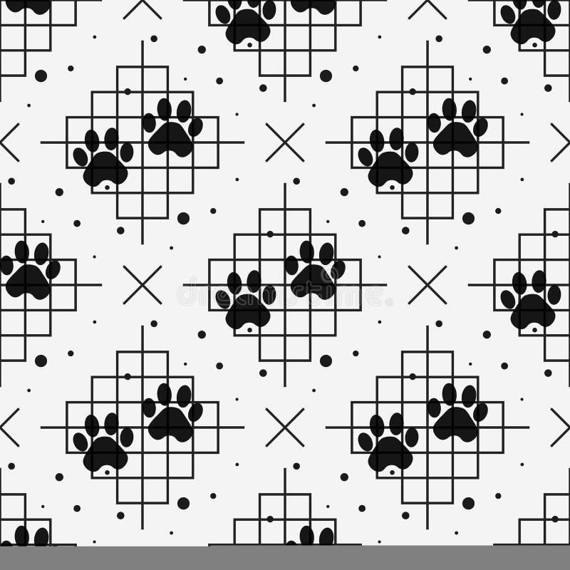Tafsa trycket som är sömlöst med linjen textur Spår av Cat Textile Pattern seamless vektor vektor illustrationer