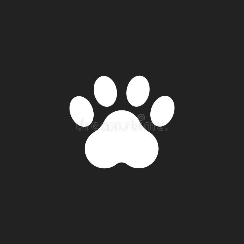 Tafsa tryckvektorsymbolen Hund- eller kattpawprintillustration Djur kontur stock illustrationer