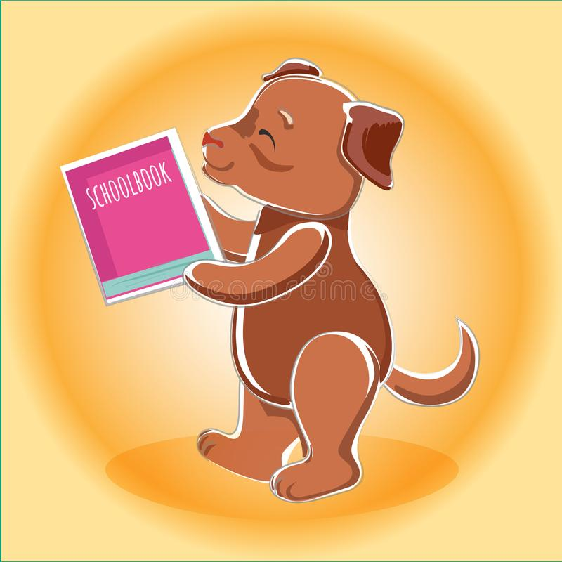 Tafsar den bruna hunden för vektorn med en schoolbook in royaltyfri illustrationer