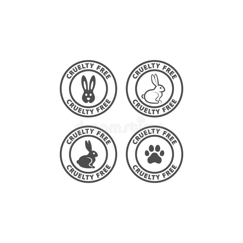 Tafsar den fria cirkeletiketten för grymhet med kanin och hunden trycket stock illustrationer