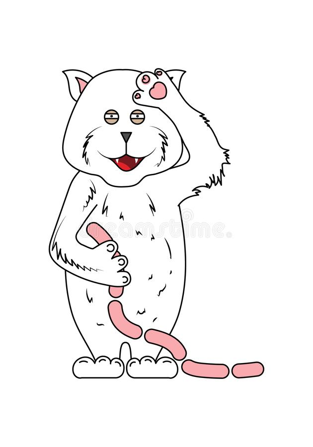 Tafsar den gulliga katten för handattraktion som rymmer korvar och vinkar av hans stock illustrationer