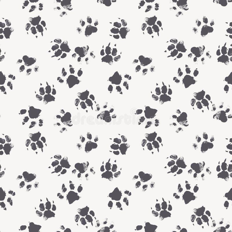 Tafsar den sömlösa modellen för vektorn med fotspår av en hund royaltyfri illustrationer