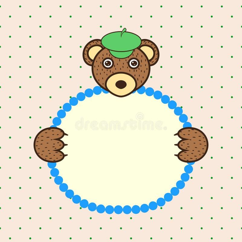 Tafsar det hållande banerkortet för björnen in Födelsedag vektor illustrationer