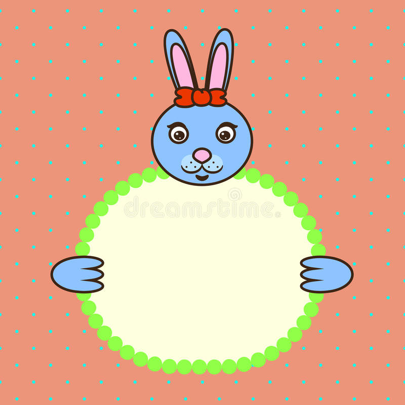 Tafsar det hållande banerkortet för den blåa kaninen in Födelsedag vektor illustrationer