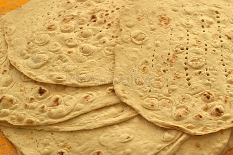Taftan Bread, Iranian White Bread. Taftan or Taftoon Bread, a kind of Persian white flatbread stock images