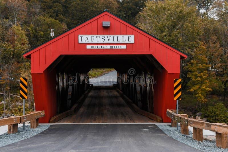 Taftsville被遮盖的桥佛蒙特 免版税库存图片