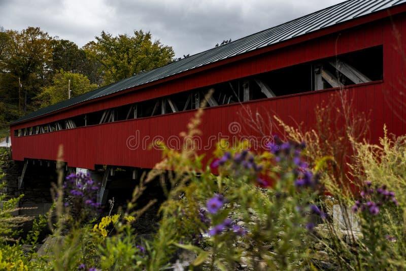 Taftsville被遮盖的桥-伍德斯托克,佛蒙特 库存图片