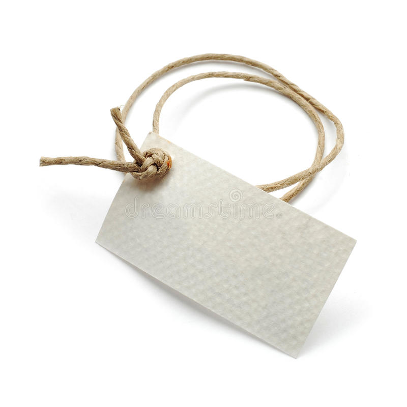 Tag. Paper tag with string isolated on white stock image